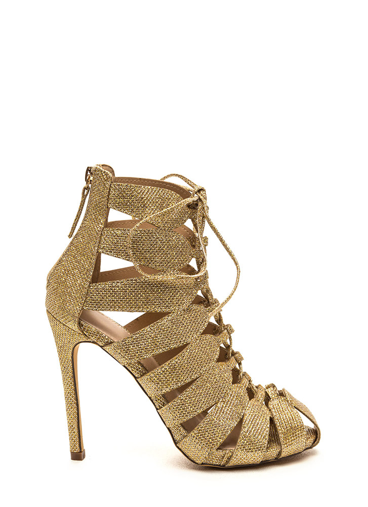 Act Your Cage Metallic Lace-Up Heels