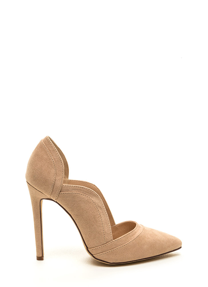 Lovely Lady Scalloped Faux Suede Pumps