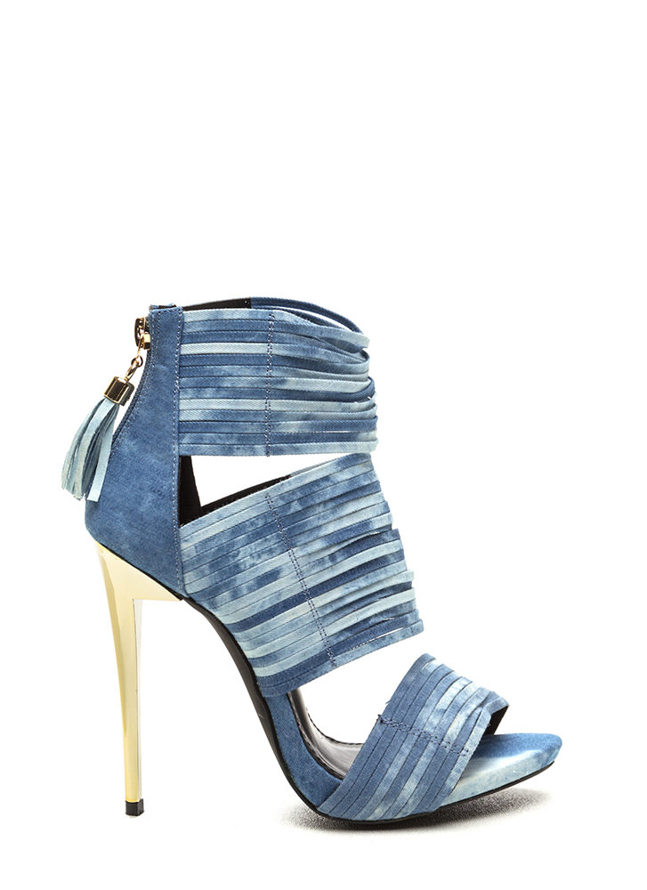 Dusk To Dawn Strappy Denim Heels