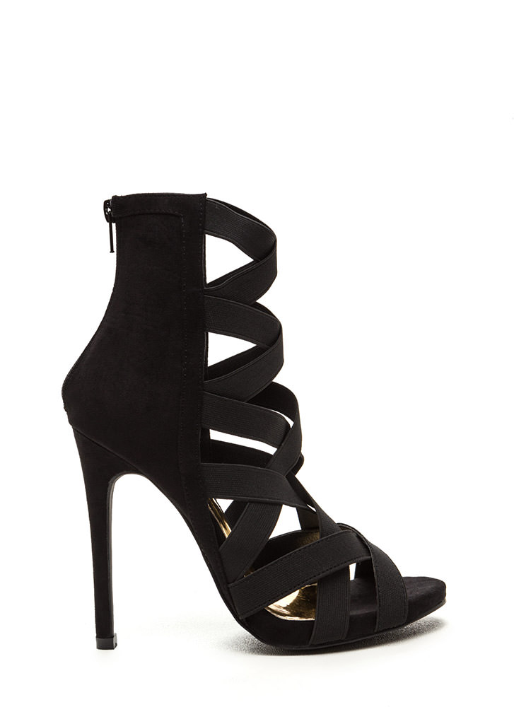 Night Life Caged Faux Suede Heels