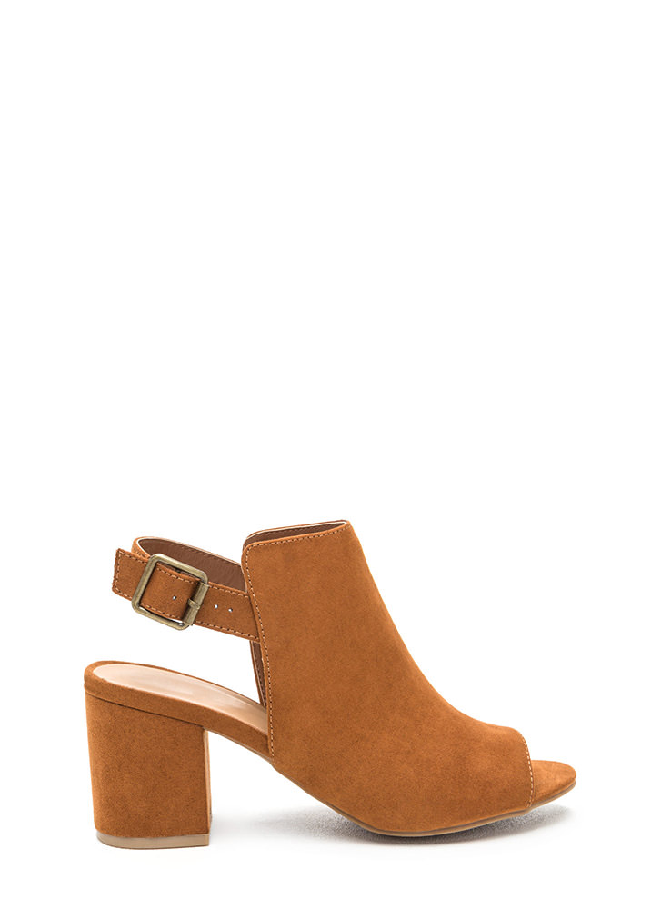 All Smiles Faux Suede Chunky Heels