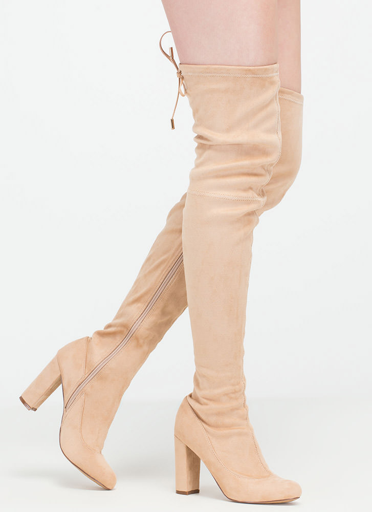 Luck Of The Drawstring Thigh-High Boots