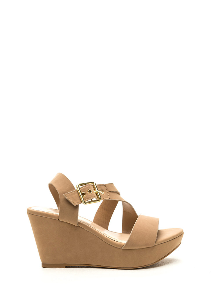 Wrap Request Faux Nubuck Wedges