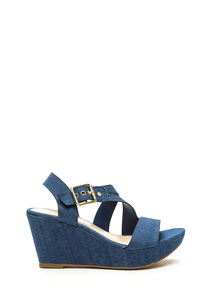 Wrap Request Strappy Denim Wedges