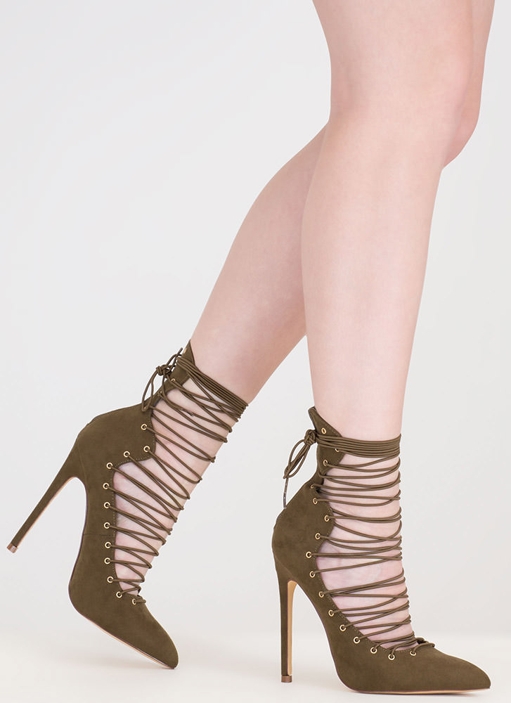 Eclectic Slide Lace-Up Pointy Heels