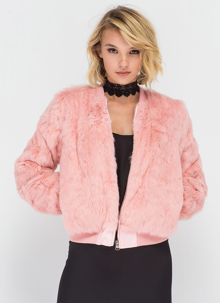 All Fur One Zip-Up Bomber Jacket