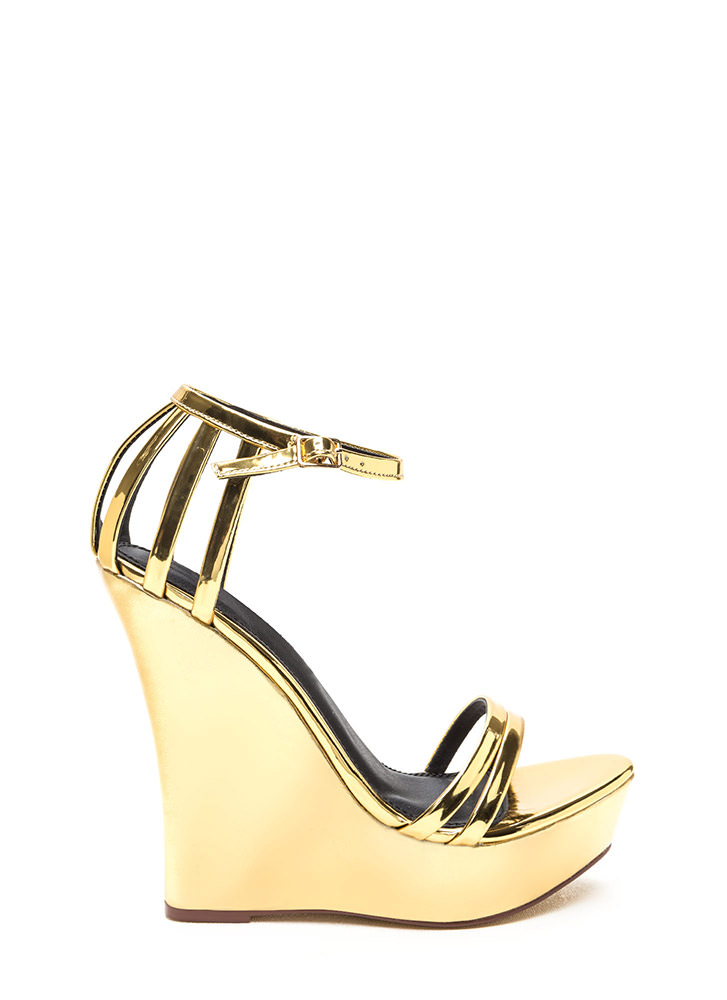 Sky's The Limit Strappy Metallic Wedges