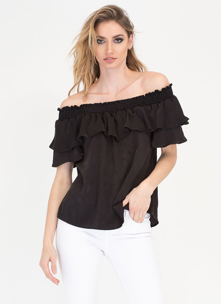 Smock And Roll Off-Shoulder Top