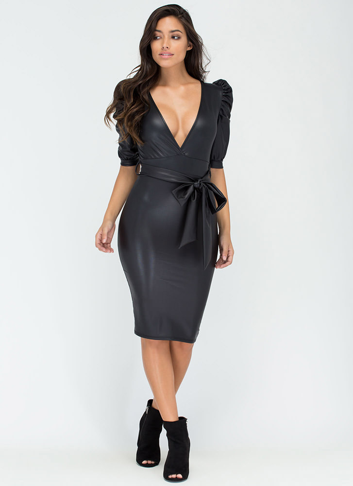 Haute Night Plunging Ruched Sleeve Dress