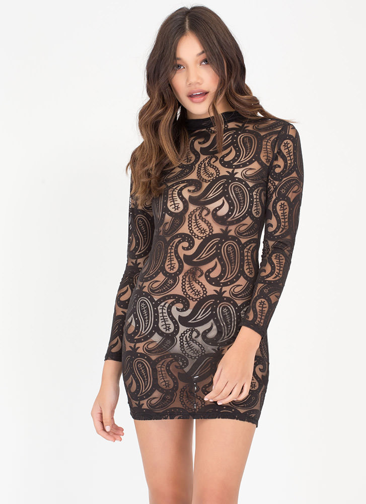 Paisley Perfect Sheer Bodycon Dress