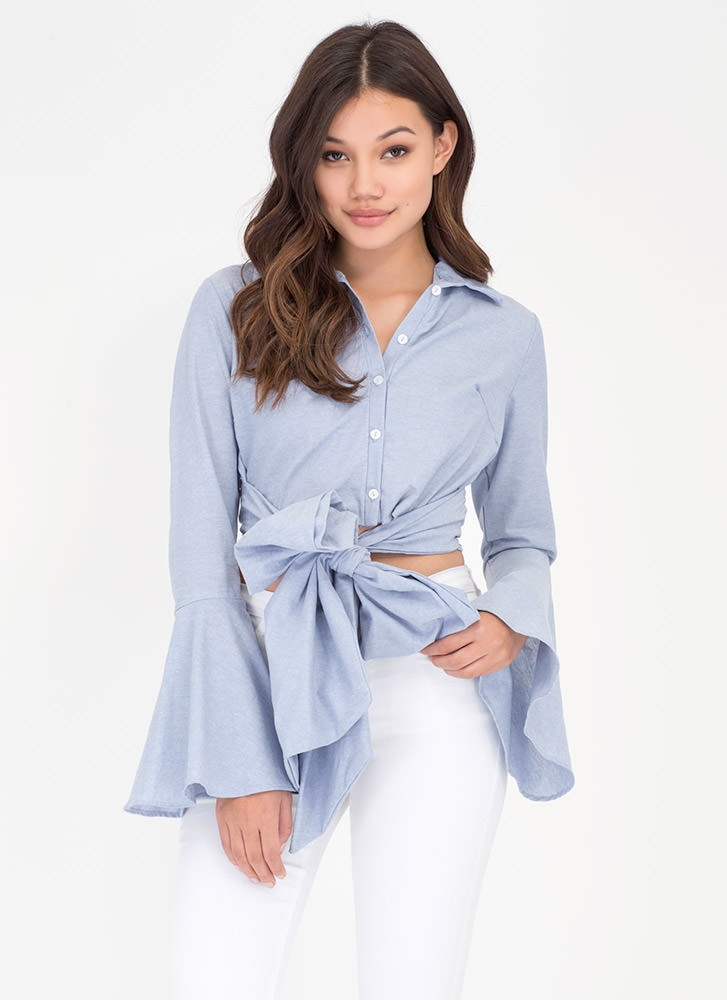My Bell-oved Tied Button-Up Shirt