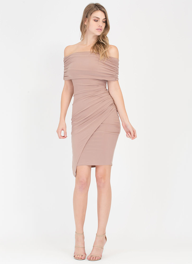 Turn Up Ruched Off-Shoulder Midi Dress