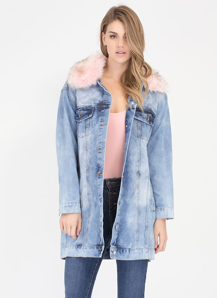 Jump Fur Joy Longline Denim Jacket