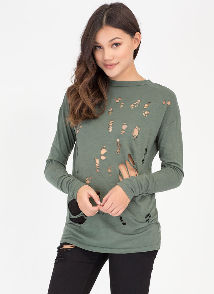 The Hole Story Distressed Burnout Top