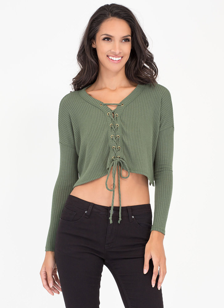 Laced With Grommets Rib Knit Crop Top