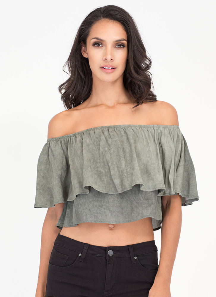 Ruffle Some Feathers Off-Shoulder Top