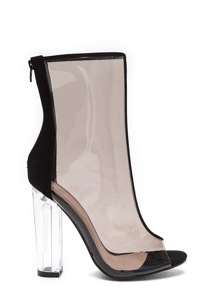 In The Clear Tall Chunky Lucite Booties