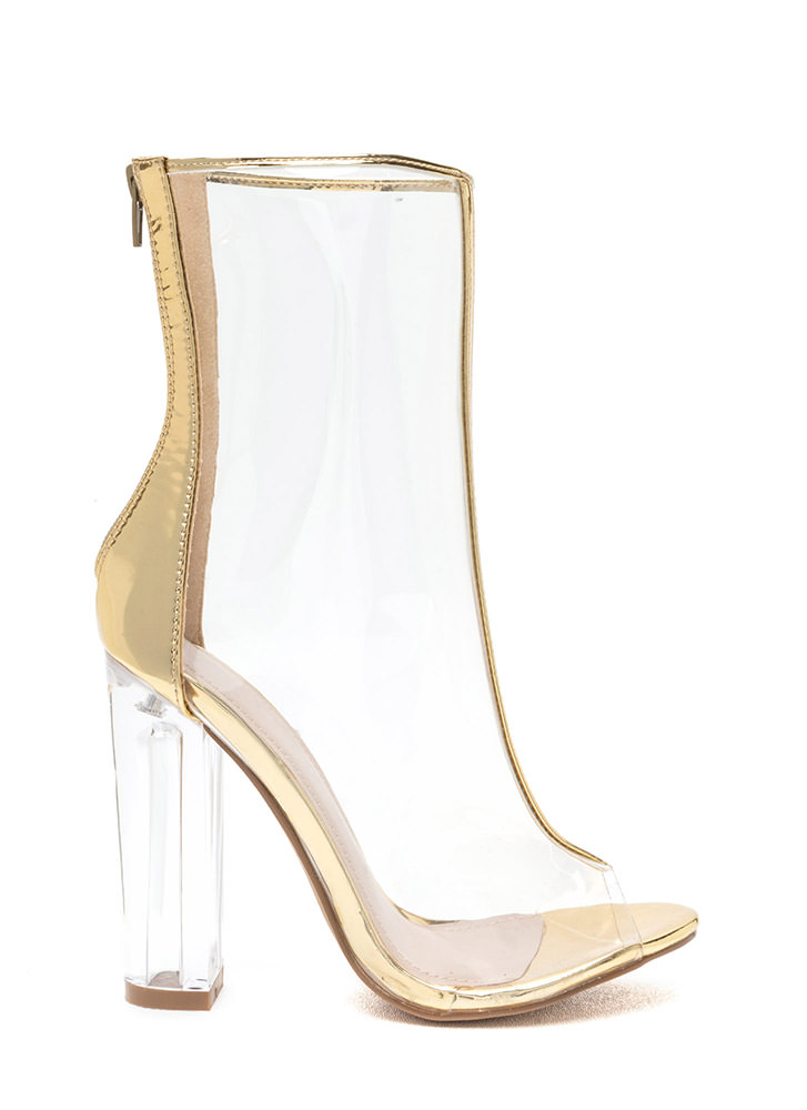 In The Clear Metallic Lucite Booties