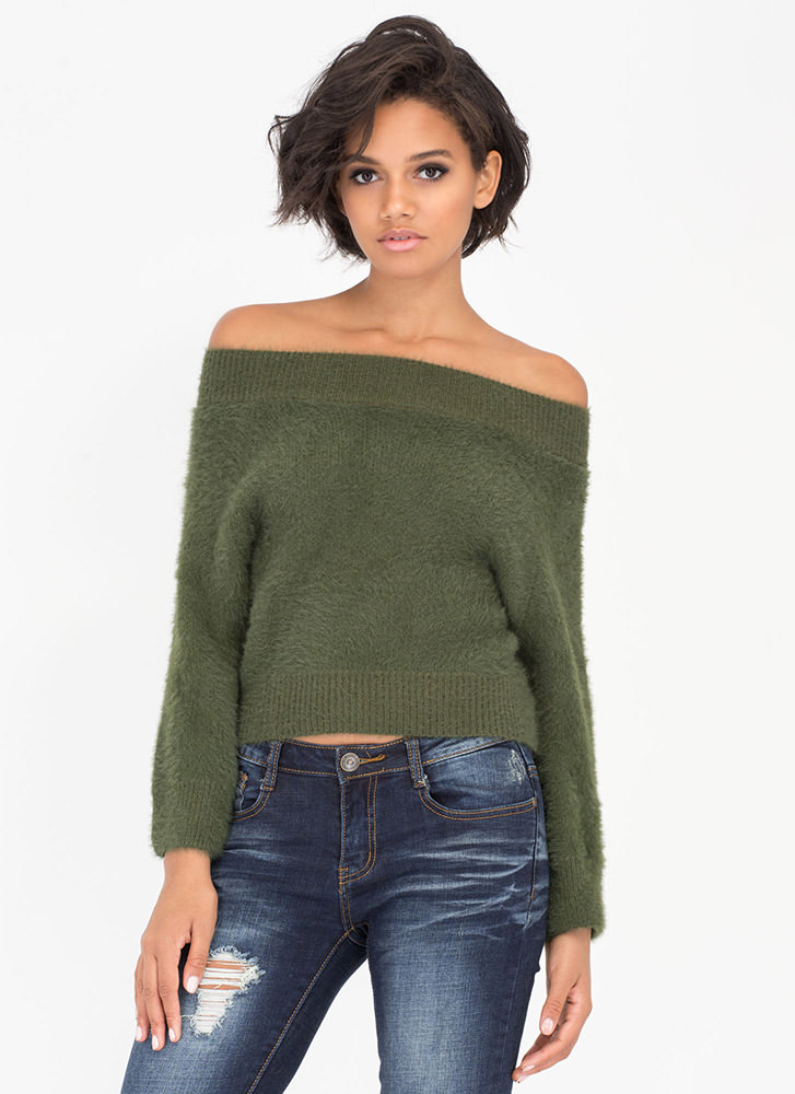 Fur Sure Off-Shoulder Mink Sweater