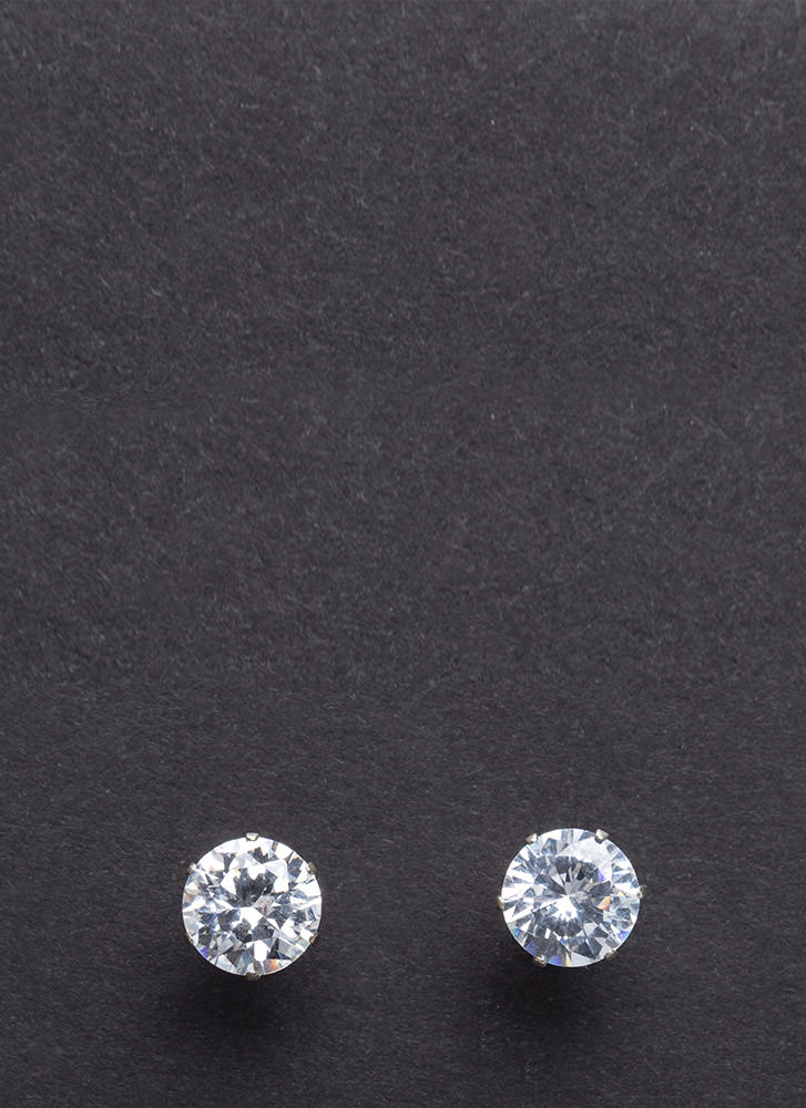 Round One Oversized Faux Diamond Studs