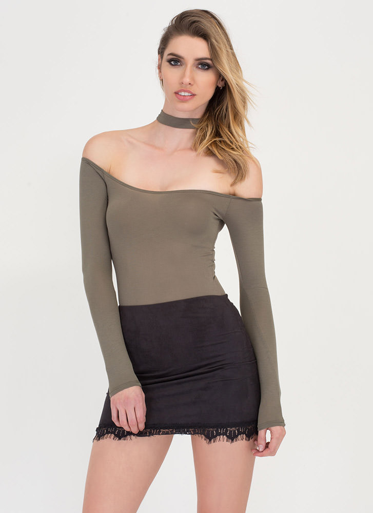 Flirty Feel Faux Suede 'N Lace Miniskirt