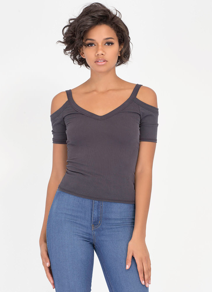 V Yourself Ribbed Cold Shoulder Top