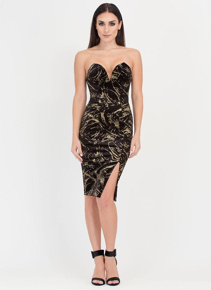 Fine Art Glittery Velvet Strapless Dress