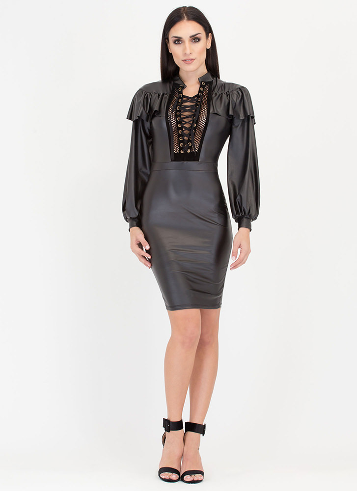 Showdown Coated Ruffled Lace-Up Dress