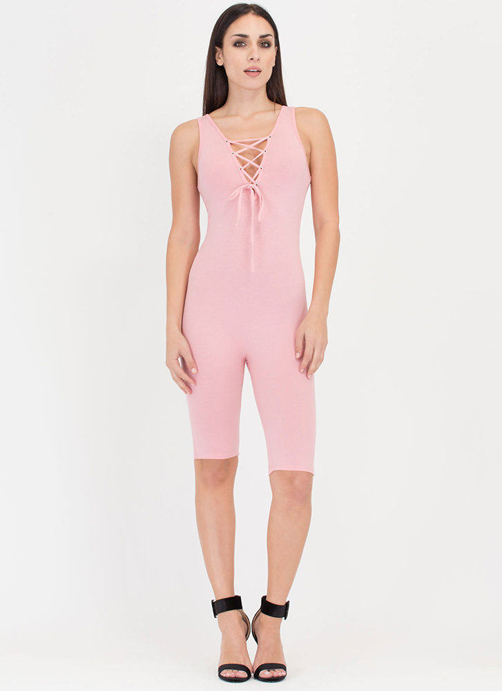 Tie See U Cropped Lace-Up Full Bodysuit