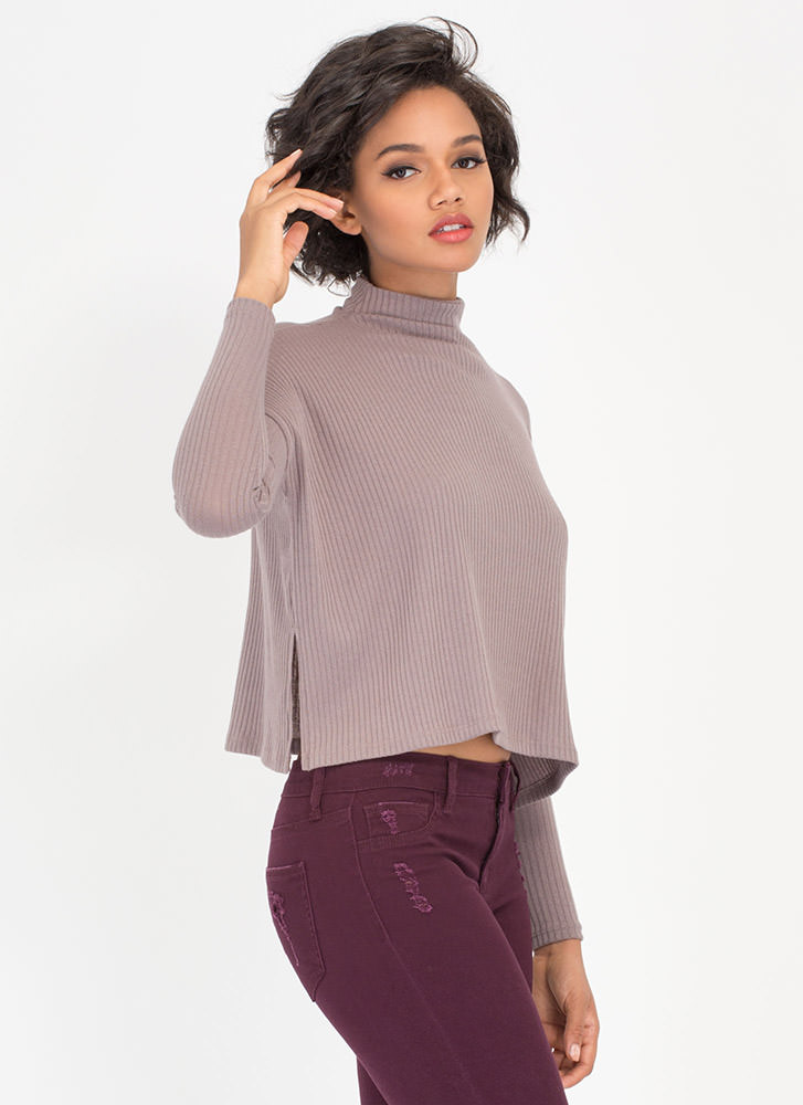 Up To My Neck Wide Rib Knit Top