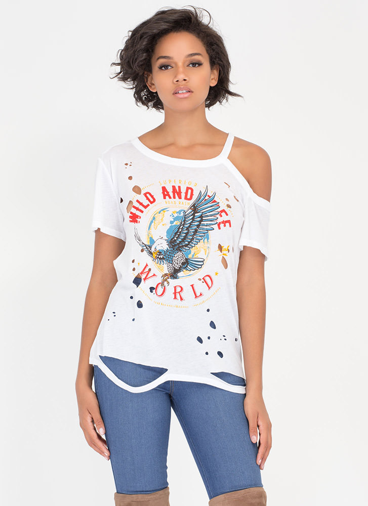 Wild And Free Distressed Eagle Tee