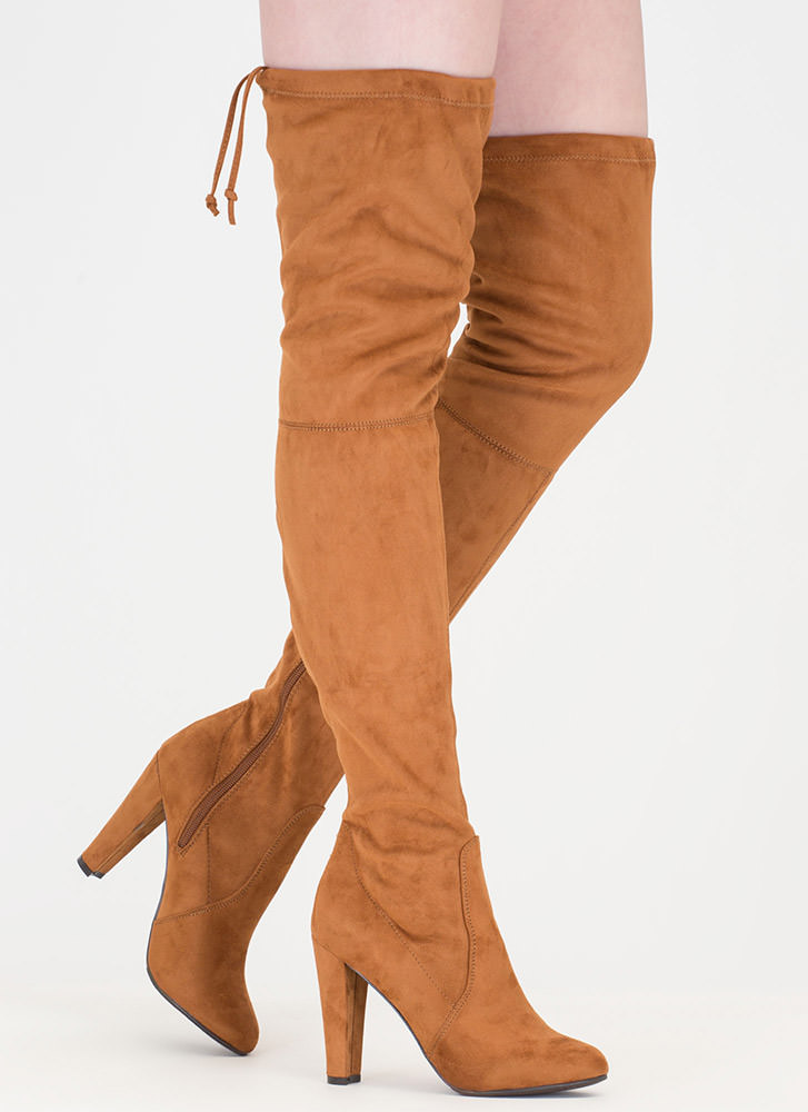Pull Some Drawstrings Thigh-High Boots