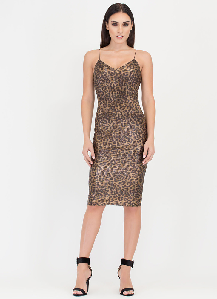Animal Instincts Scaled Leopard Dress