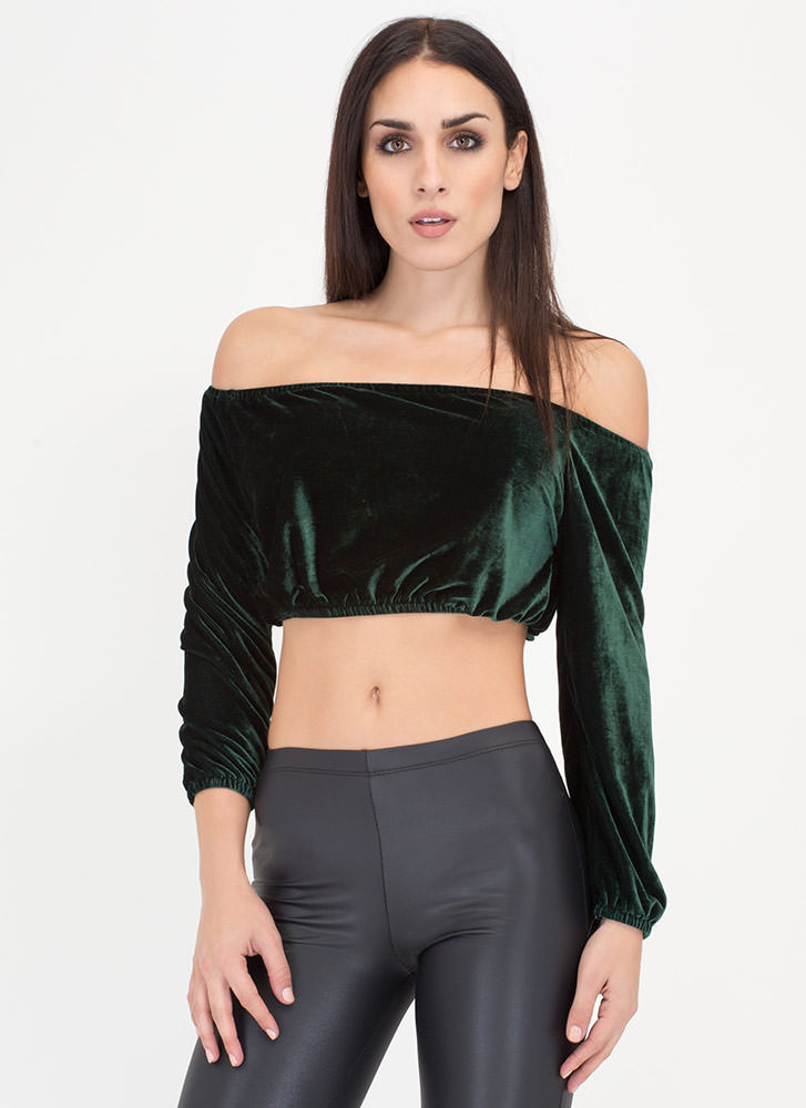 Va-Va-Velvet Off-Shoulder Crop Top