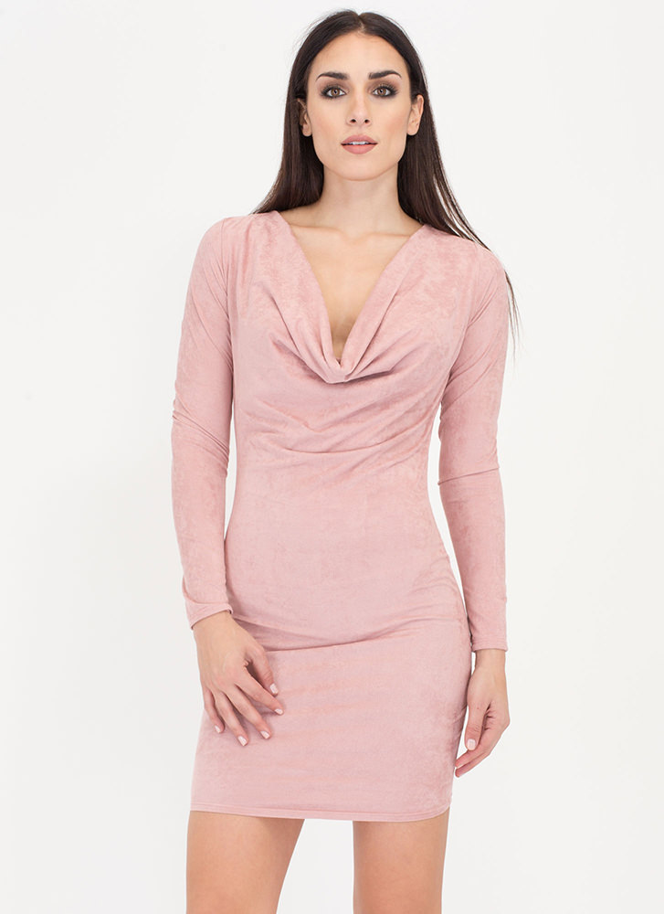 Drape It Plunging Faux Suede Dress