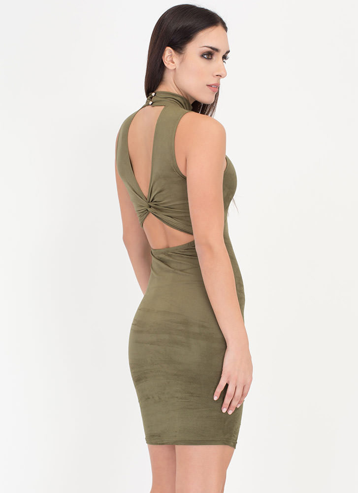 With A Twist Back Faux Suede Dress