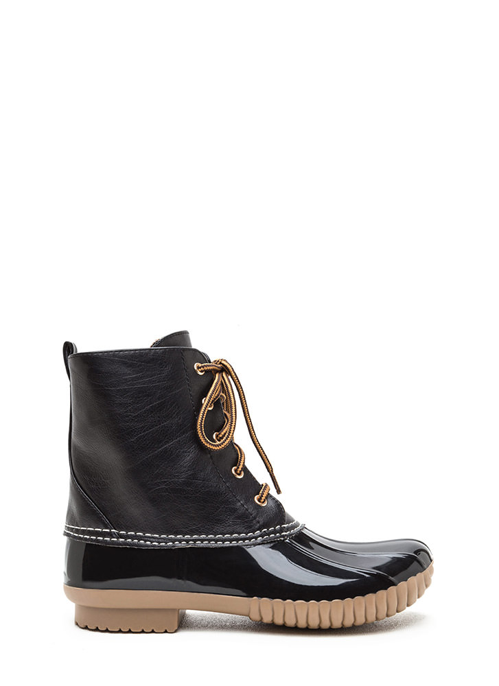 Dance In The Rain Faux Patent Duck Boots