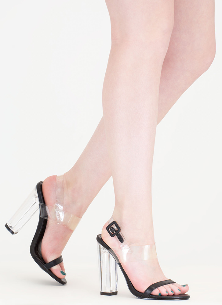 Clear The Way Chunky Faux Leather Heels