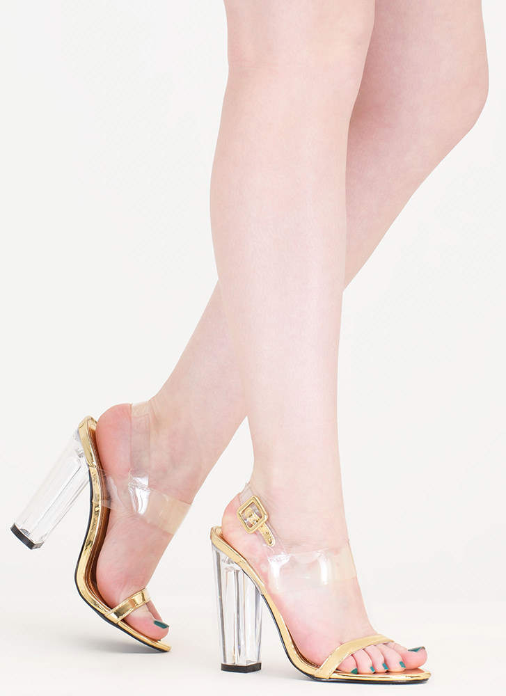 Clear The Way Chunky Metallic Heels