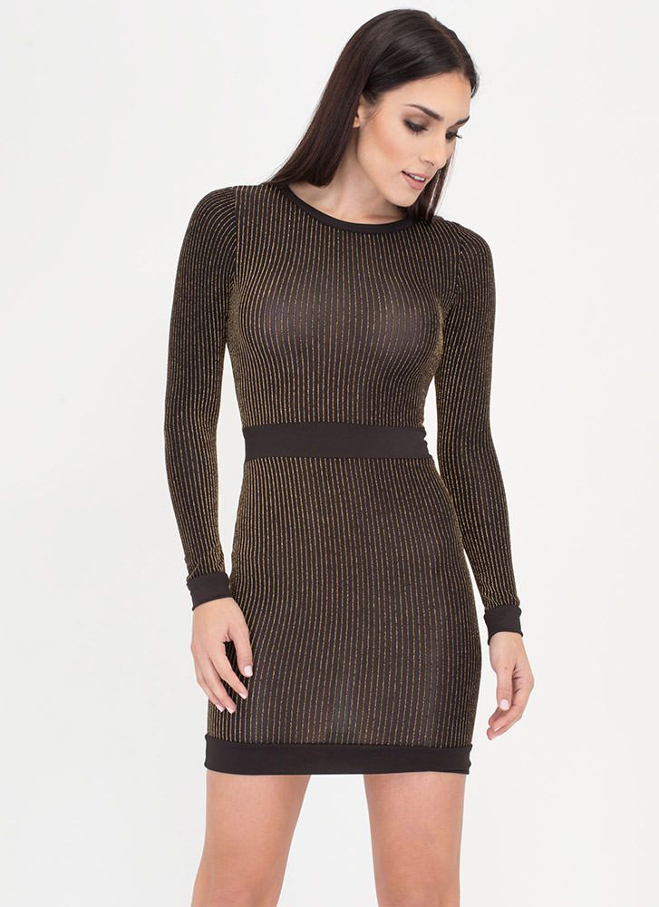 Party Animal Metallic Pinstripe Dress