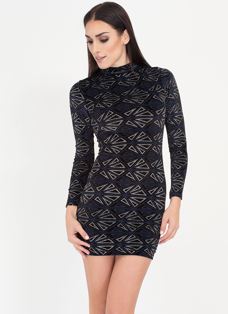 New Shapes Metallic Mockneck Minidress