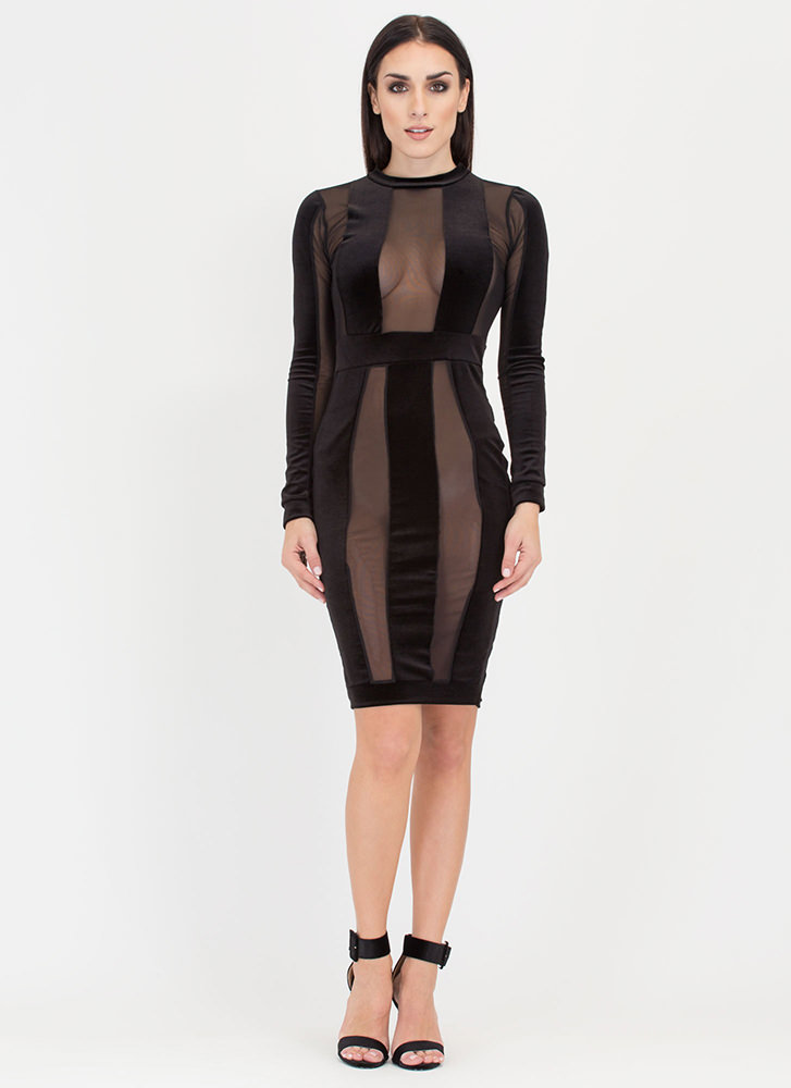 Earn Your Stripes Sheer Velvet Dress