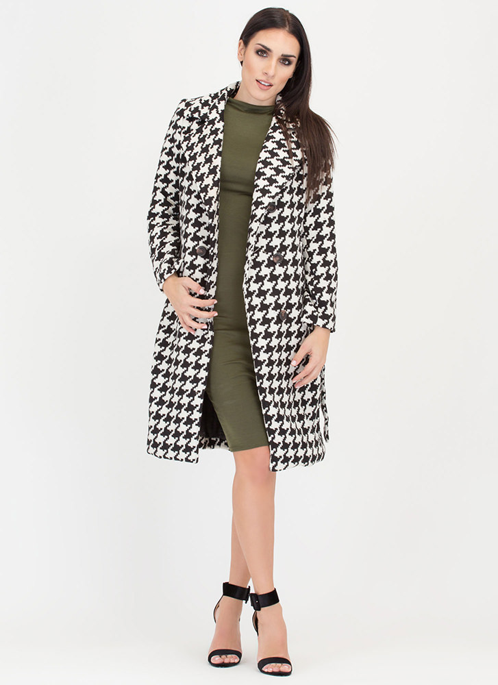 Chill Remedy Belted Houndstooth Coat