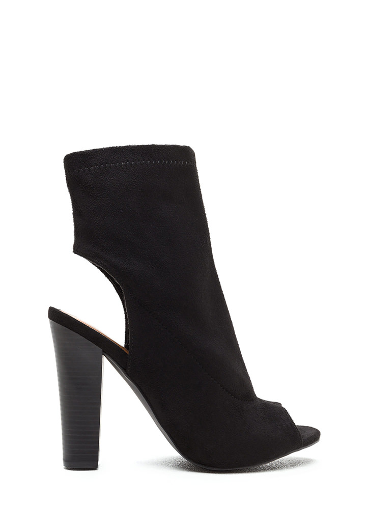Make The Cut Chunky Faux Suede Booties