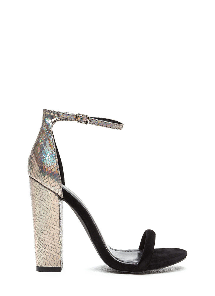 Time To Shine Chunky Snakeskin Heels