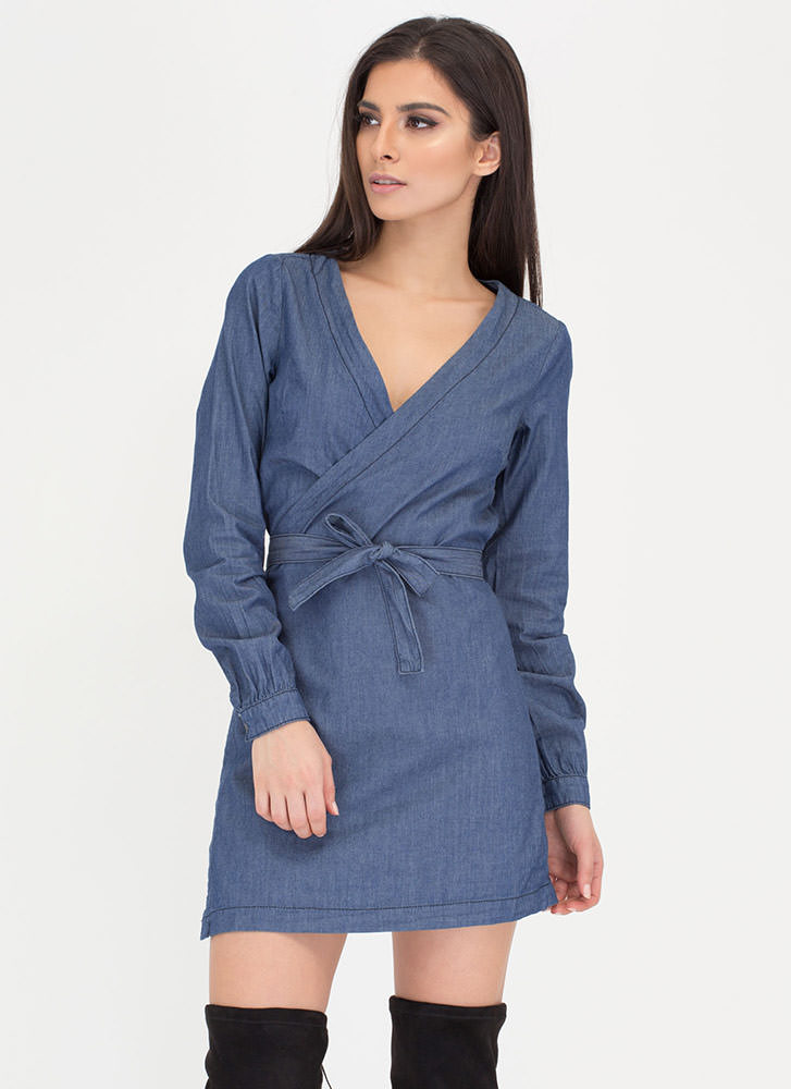 Chambray Call Plunging Wrap Dress