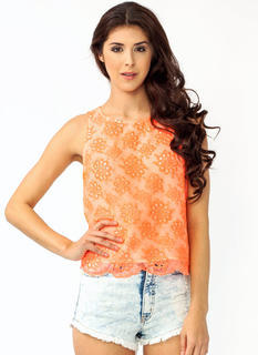 Embroidered Floral Button Tank