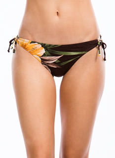 Hibiscus Printed Side Tie Bikini Bottom