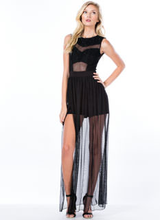 Time To Get Lacy Double Slit Maxi Dress