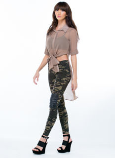 Faux Leather Inset Camo Jeggings